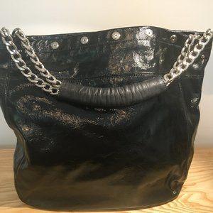 Furla Black Leather Silver Chain Handbag Tote